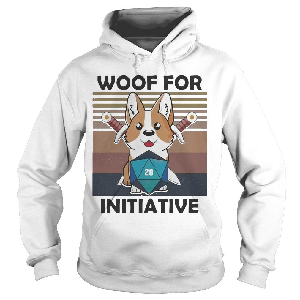 Vintage Baby Corgi Dungeon Woof For Initiative Hoodie