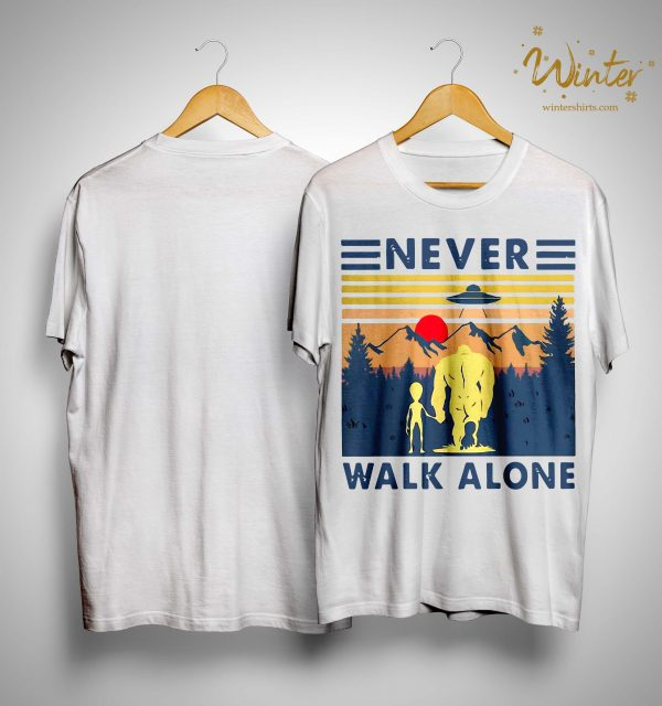 Vintage Bigfoot And Alien Never Walk Alone Shirt