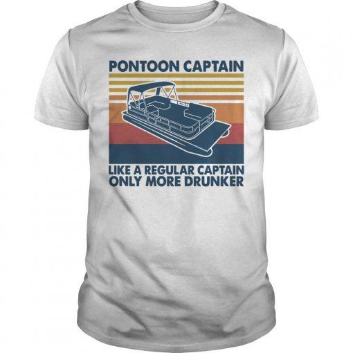 Vintage Boating Pontoon Captain Like A Regular Captain Only Cooler Shirt