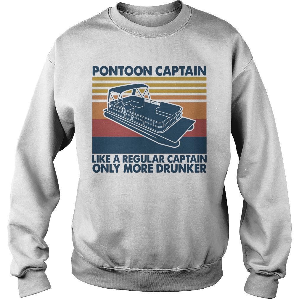 Vintage Boating Pontoon Captain Like A Regular Captain Only Cooler Sweater