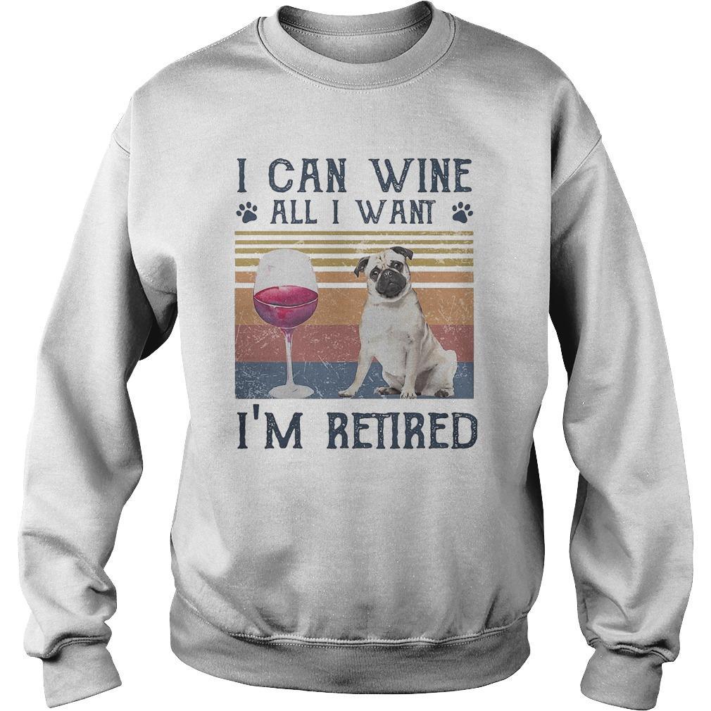 Vintage Bulldog I Can Wine All I Want I'm Retired Sweater