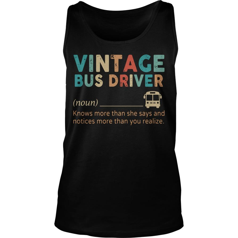 Vintage Bus Driver Knows More Than She Says And Notices Tank Top
