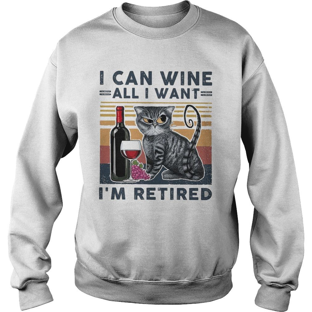 Vintage Cat I Can Wine All I Want I'm Retired Sweater