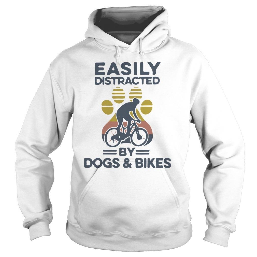 Vintage Easily Distracted By Dogs And Bikes Hoodie