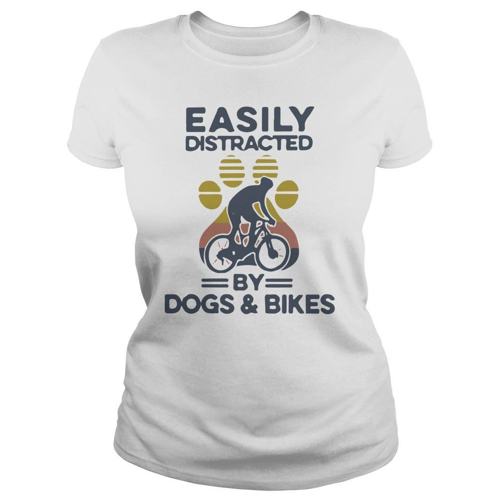 Vintage Easily Distracted By Dogs And Bikes Longsleeve