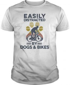Vintage Easily Distracted By Dogs And Bikes Shirt