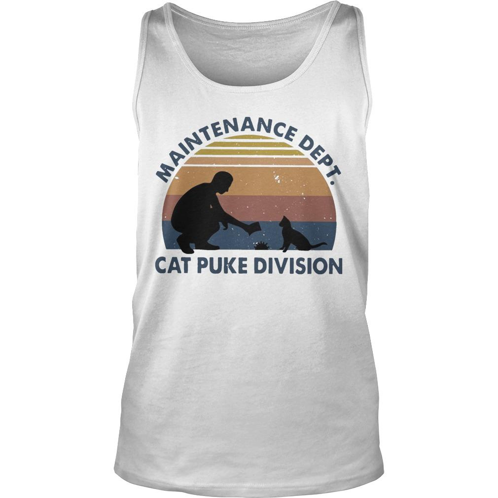 Vintage Maintenance Dept Cat Puke Division Tank Top