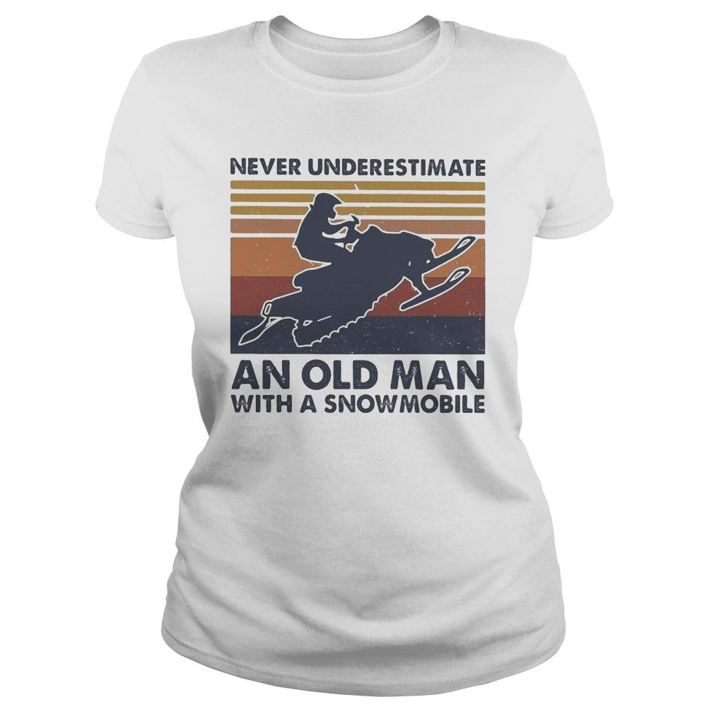 Vintage Never Underestimate An Old Man With A Snowmobile Longsleeve