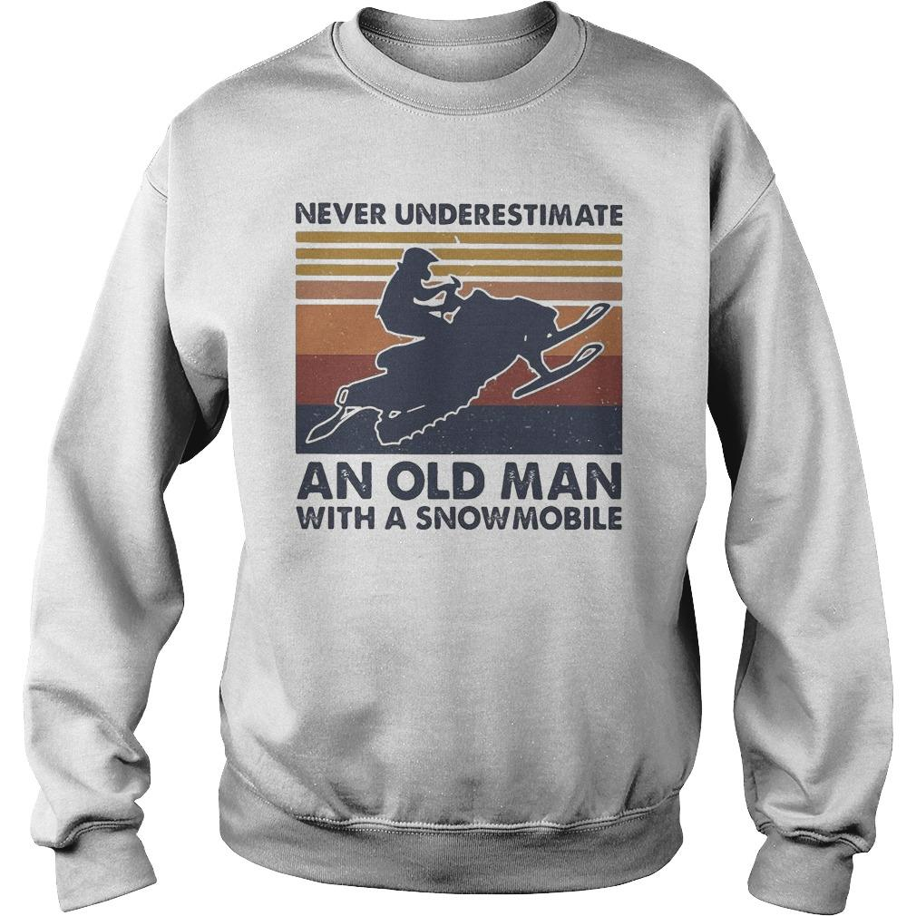 Vintage Never Underestimate An Old Man With A Snowmobile Sweater