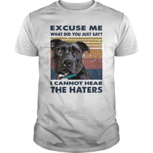 Vintage Pitbull Excuse Me What Did You Just Say I Cannot Hear The Haters Shirt