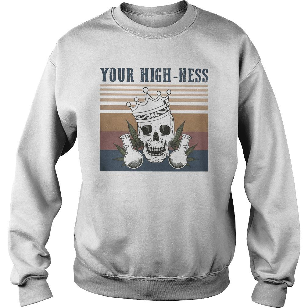 Vintage Skull Crown Weed Your Highness Sweater