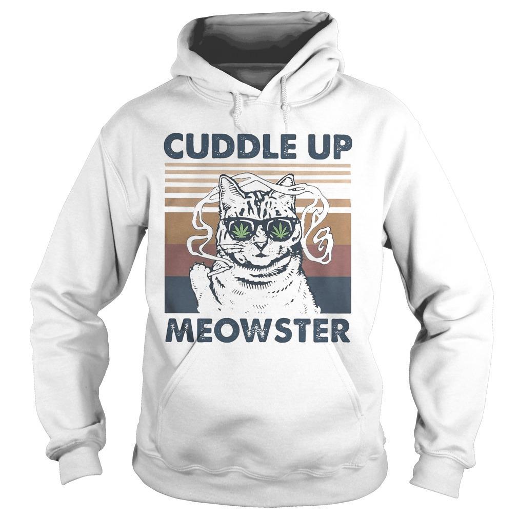 Vintage Weed Cuddle Up Meowster Hoodie