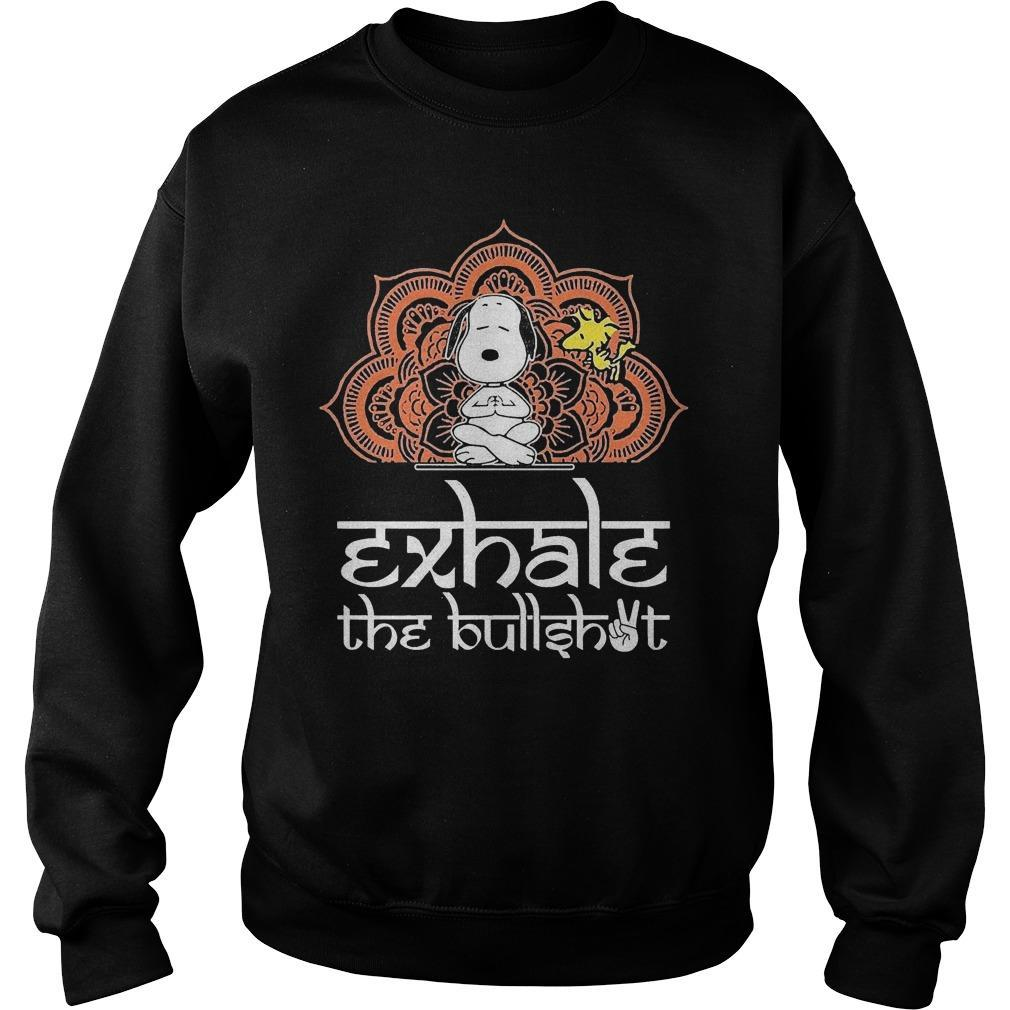 Yoga Snoopy And Woodstock Exhale The Bullshot Sweater
