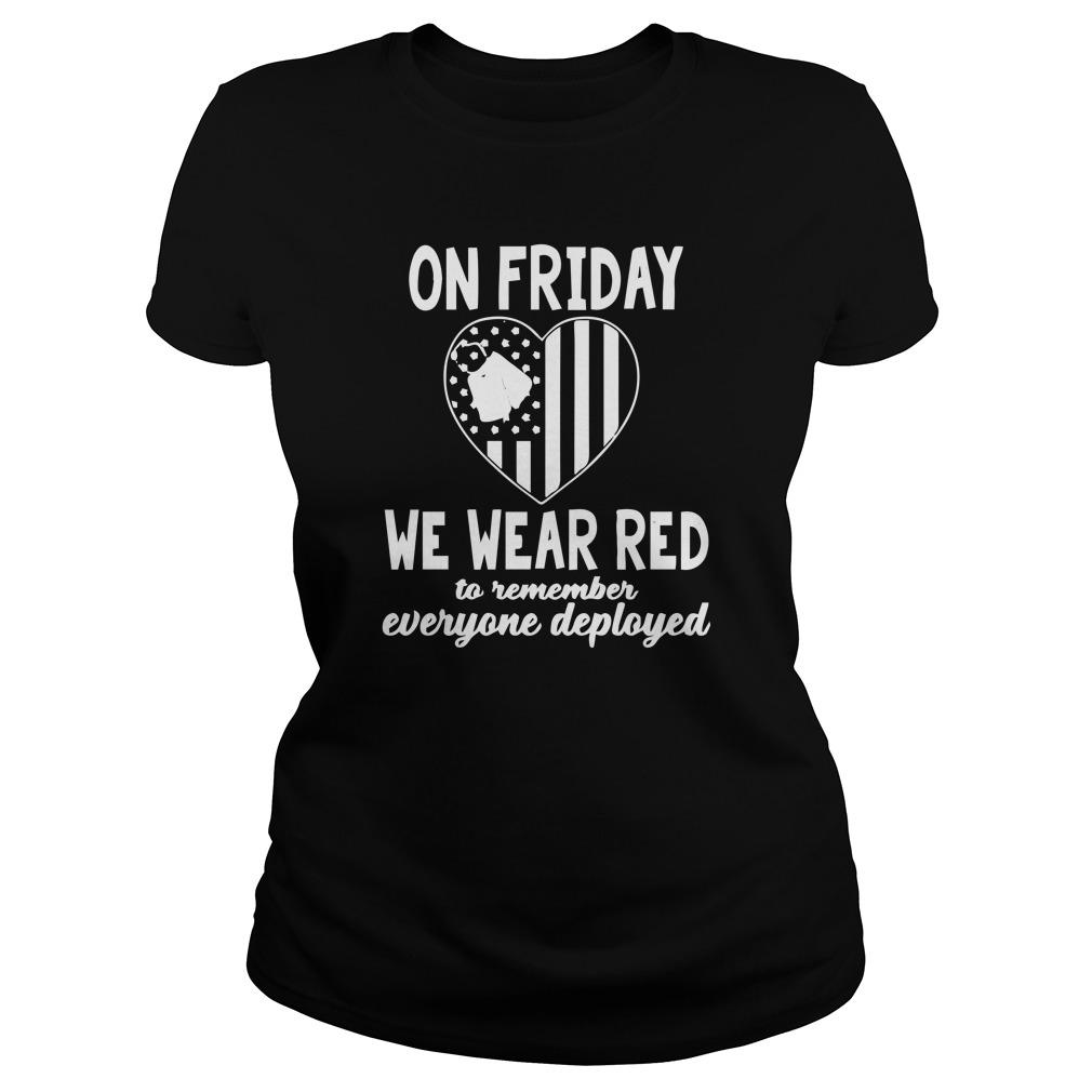 American Flag On Friday We Wear Red To Remember Everyone Deployed Longsleeve