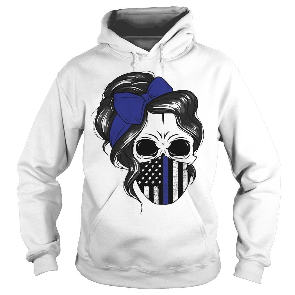 American Flag Skull Woman Face Mask Hoodie