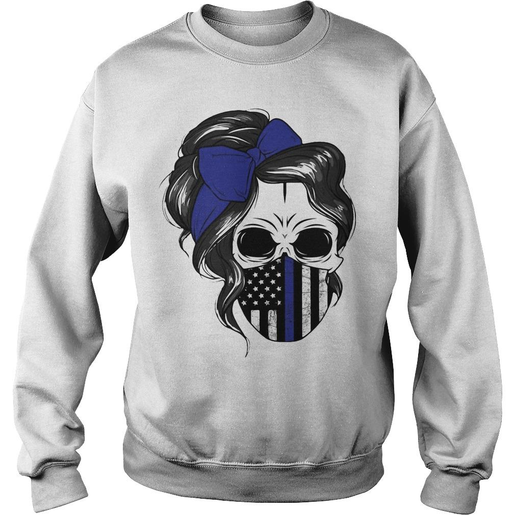 American Flag Skull Woman Face Mask Sweater