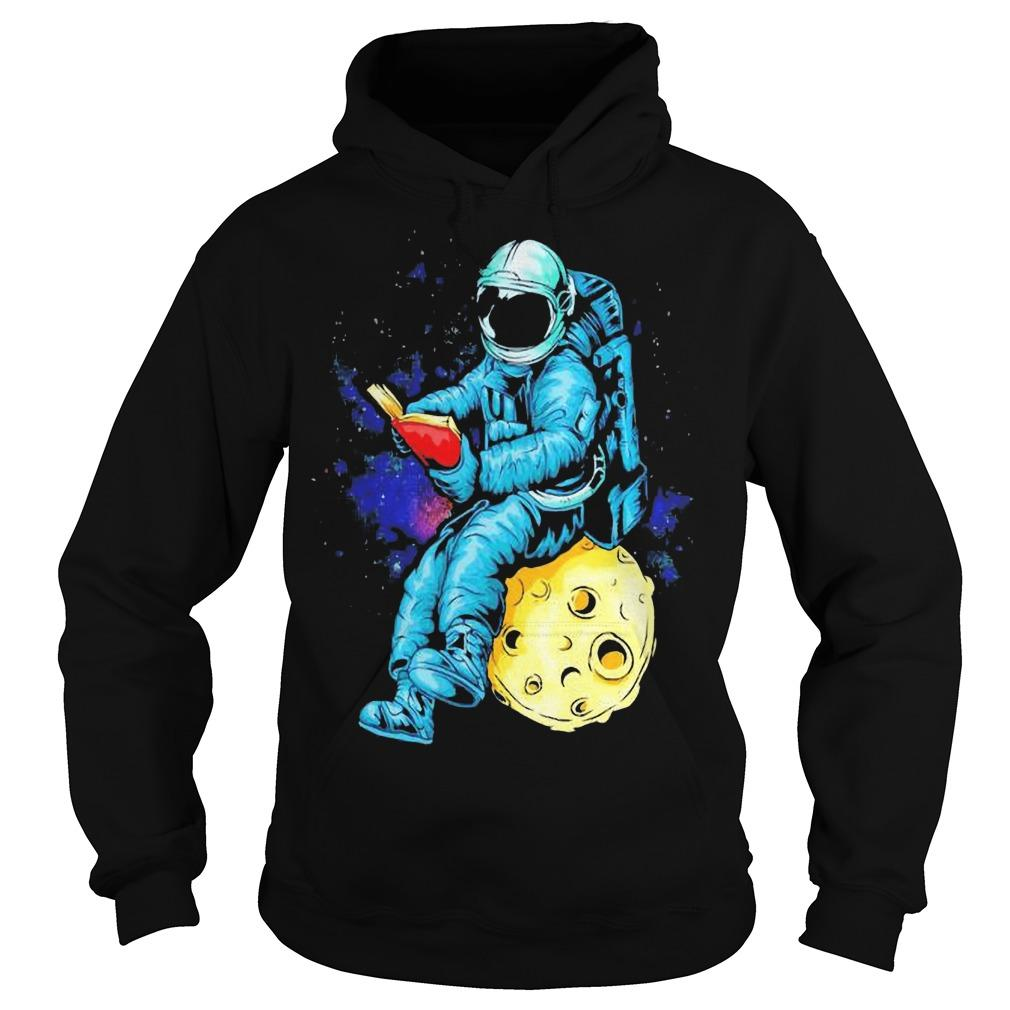 Astronaut Reading Book In The Moon Space Hoodie