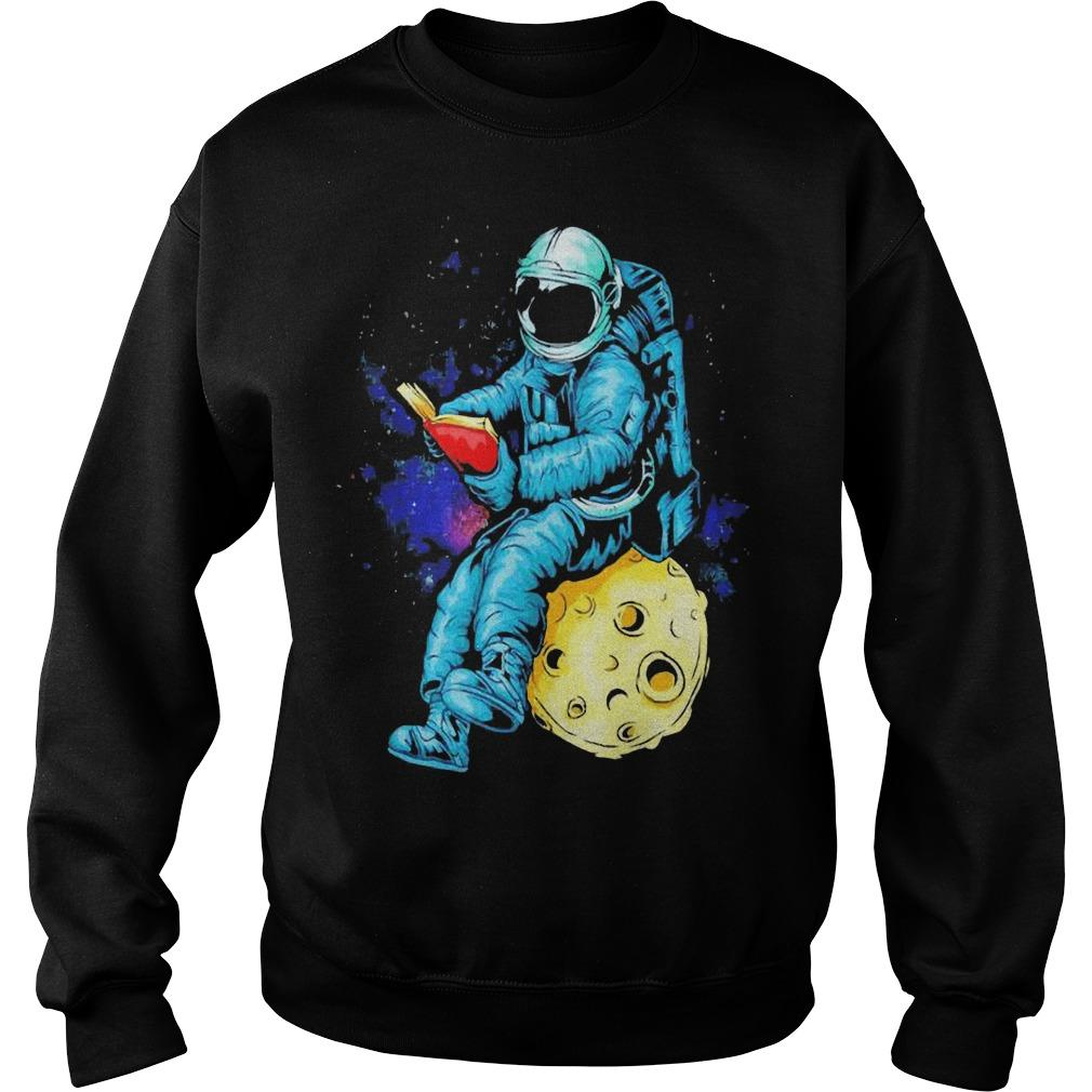 Astronaut Reading Book In The Moon Space Sweater