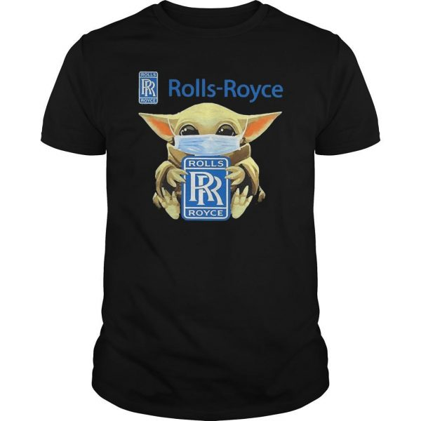 Baby Yoda Face Mask Hugging Rolls Royce Shirt