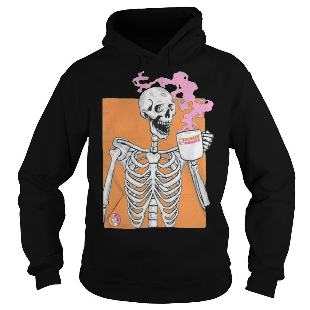 Colorful Skeleton Drinking Dunkin Donuts Coffee Hoodie