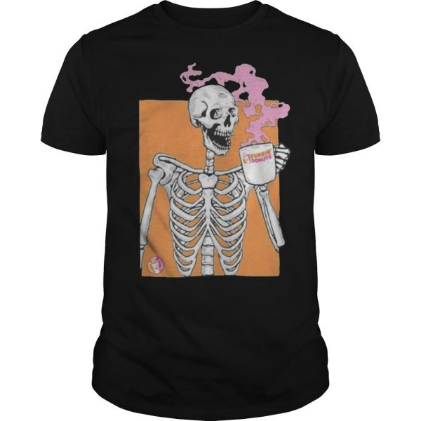 Colorful Skeleton Drinking Dunkin Donuts Coffee Shirt
