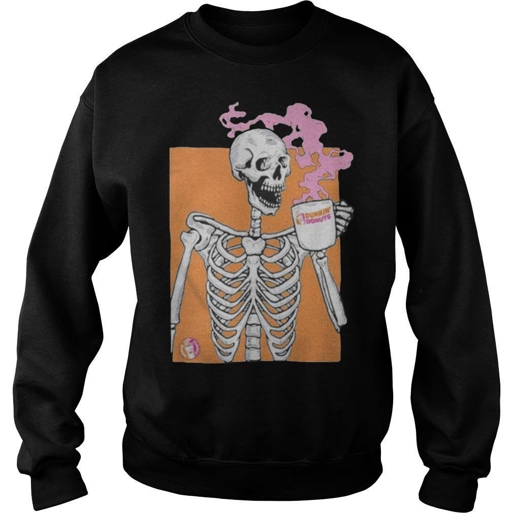 Colorful Skeleton Drinking Dunkin Donuts Coffee Sweater