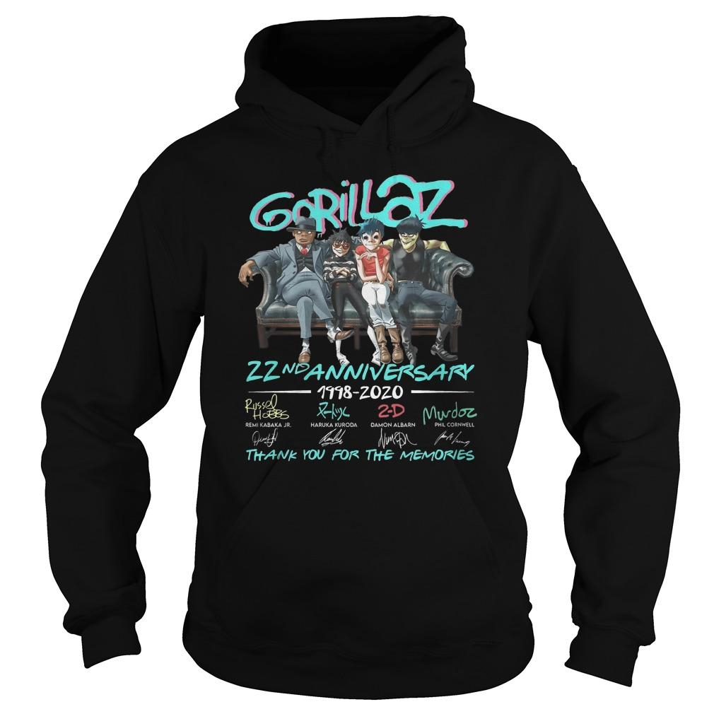 Gorillaz 22nd Anniversary Thank You For The Memories Hoodie