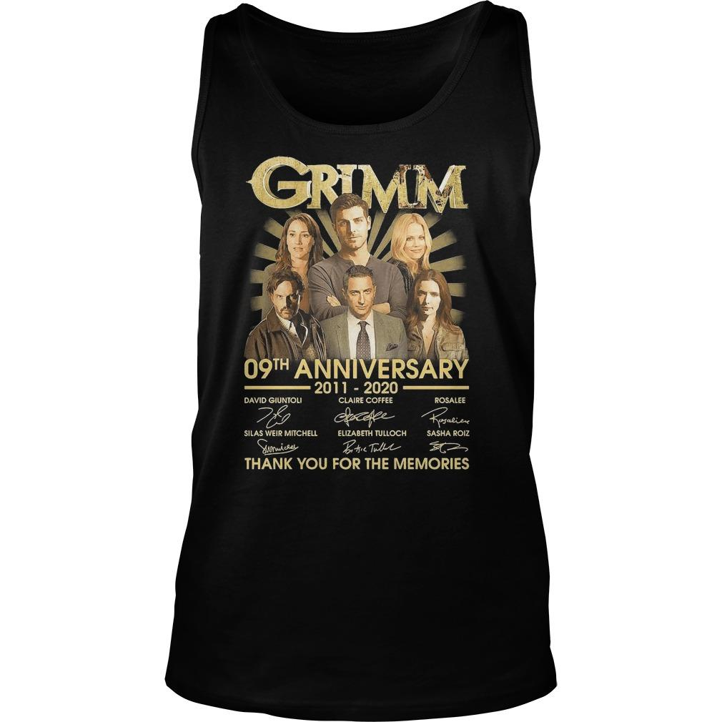 Grimm 09th Anniversary 2011 2020 Thank You For The Memories Signatures Tank Top