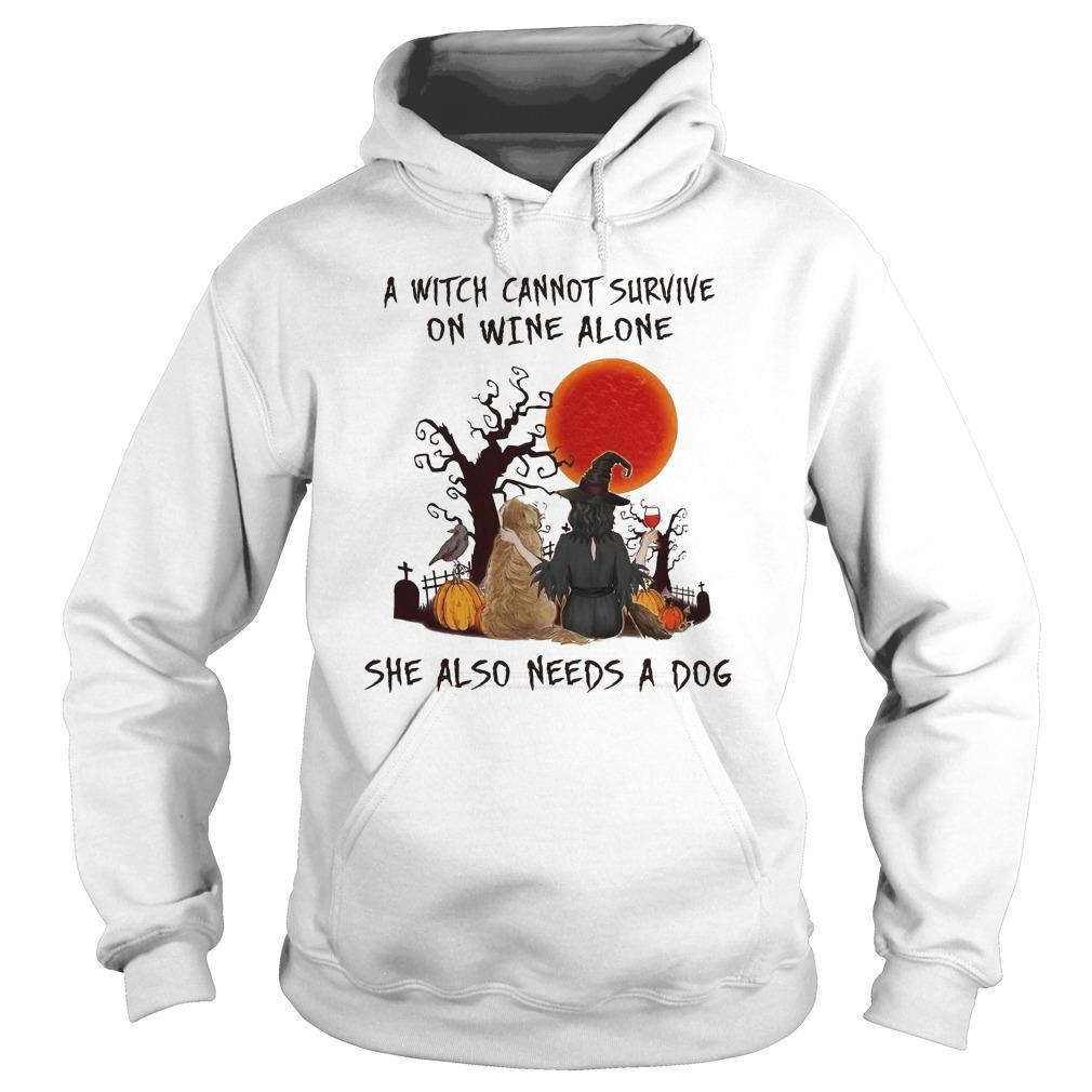Halloween A Witch Cannot Survive On Wine Alone She Also Needs A Dog Hoodie