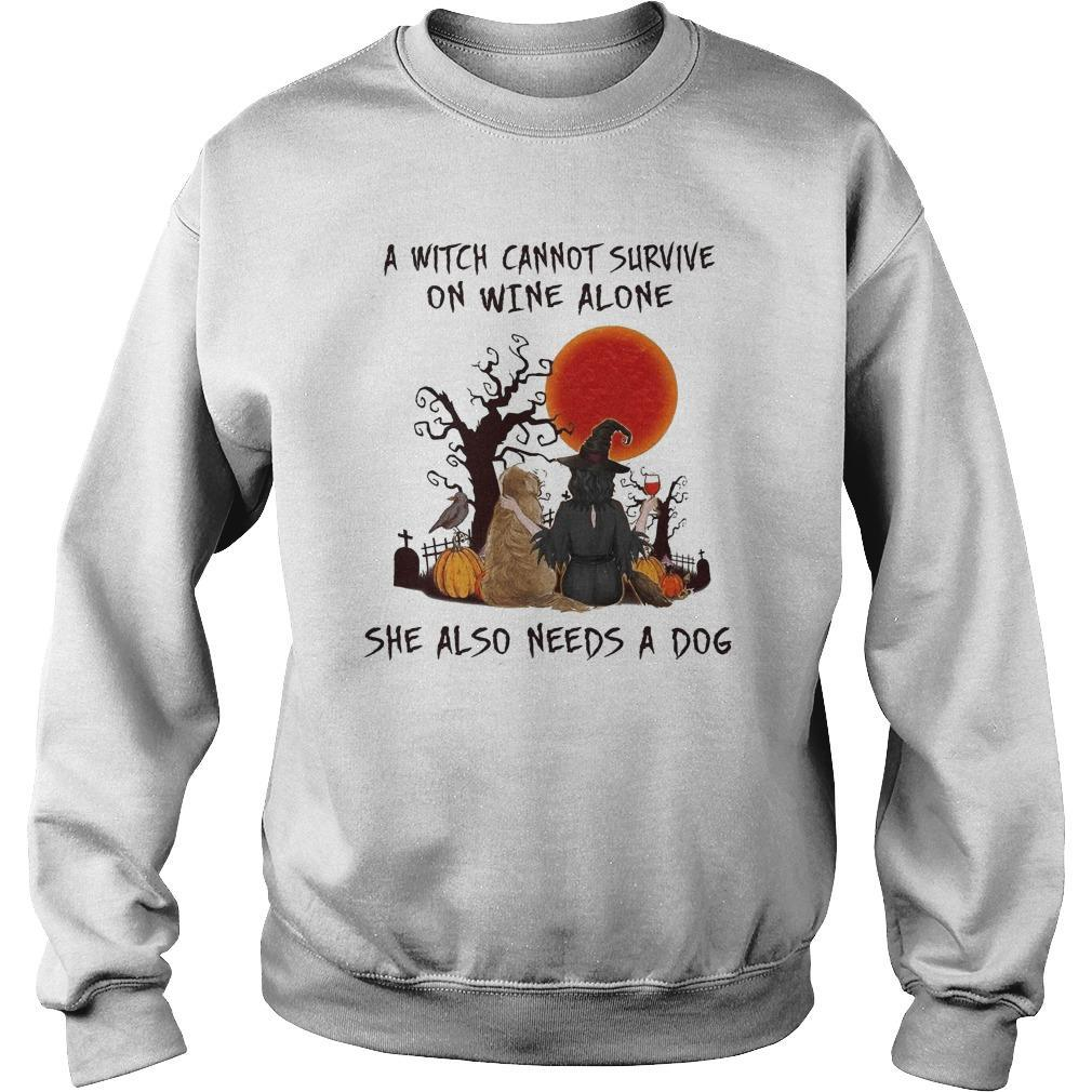 Halloween A Witch Cannot Survive On Wine Alone She Also Needs A Dog Sweater