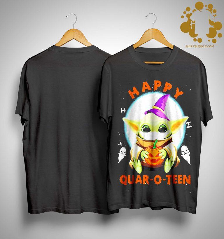 Halloween Baby Yoda Happy Quar O Teen Shirt