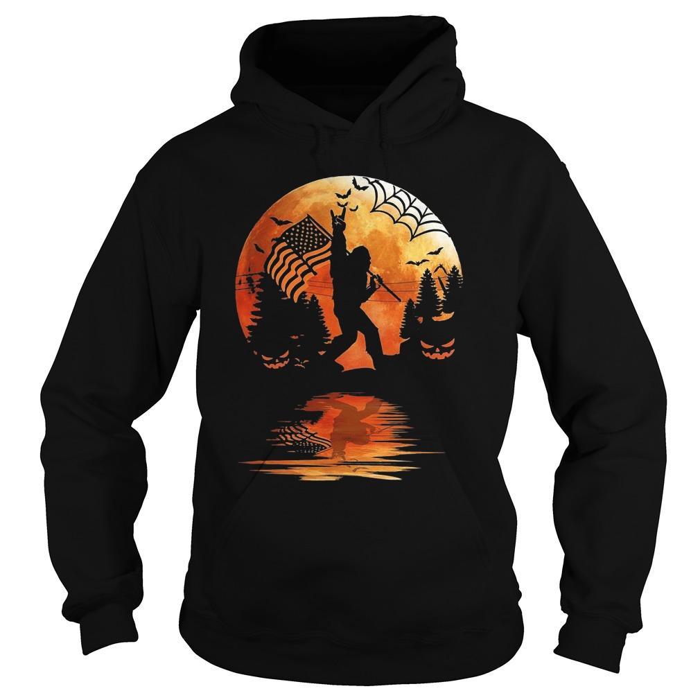 Halloween Bigfoot American Flag Moon Reflection Hoodie