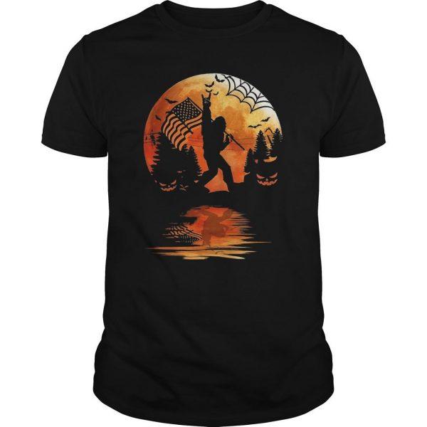 Halloween Bigfoot American Flag Moon Reflection Shirt