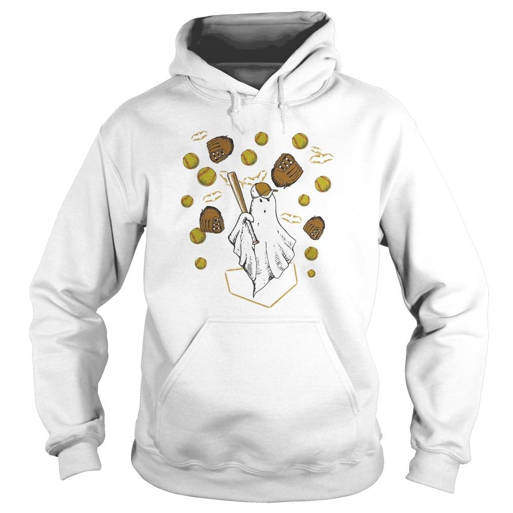 Halloween Ghost Playing Softball Hoodie
