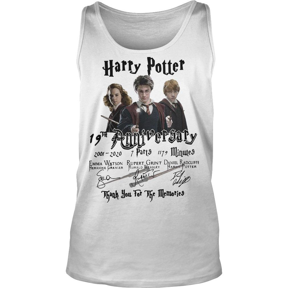 Harry Potter 19th Anniversary Thank You For The Memories Signatures Tank Top