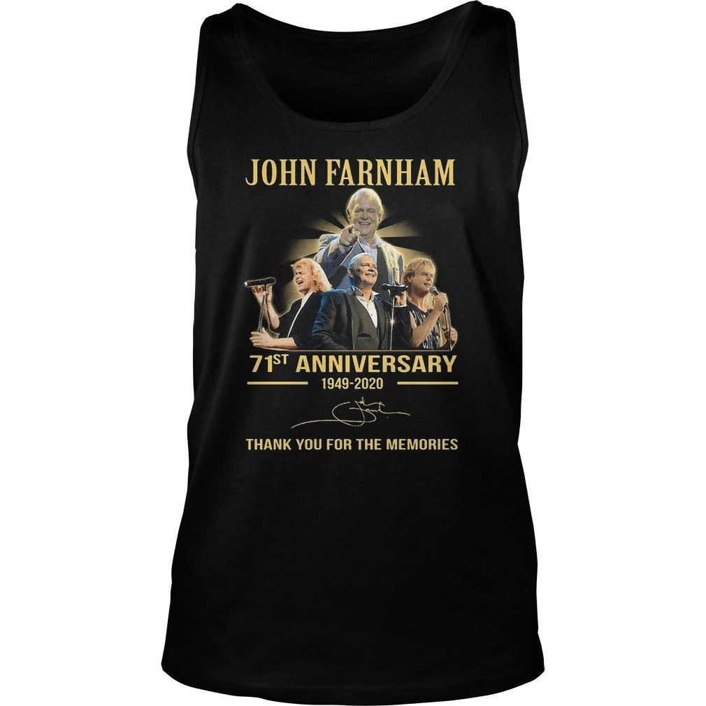 John Farnham 71st Anniversary Thank You For The Memories Tank Top