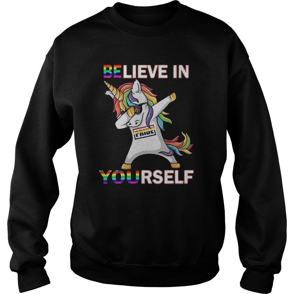 Lgbt Dabbing Unicorn Believe In Yourself Pride Sweater