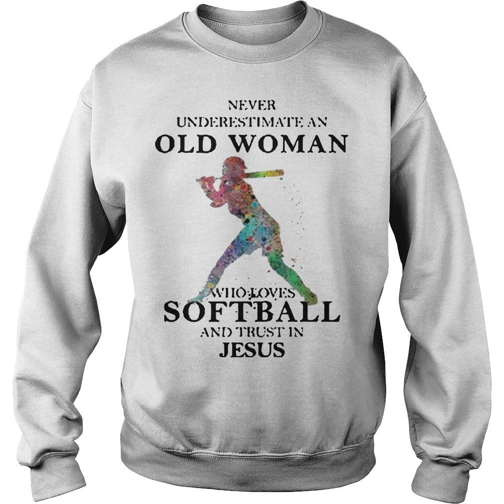 Never Underestimate An Old Man Who Loves Softball And Trust In Jesus Sweater