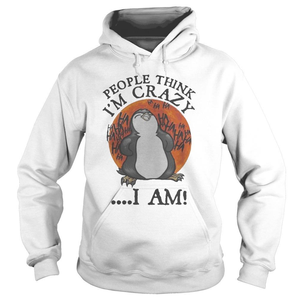 Penguin People Think I'm Crazy I Am Hoodie