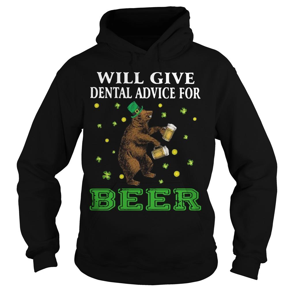 St Patrick's Bear Will Give Dental Advice For Beer Hoodie