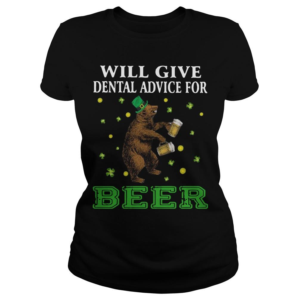 St Patrick's Bear Will Give Dental Advice For Beer Longsleeve