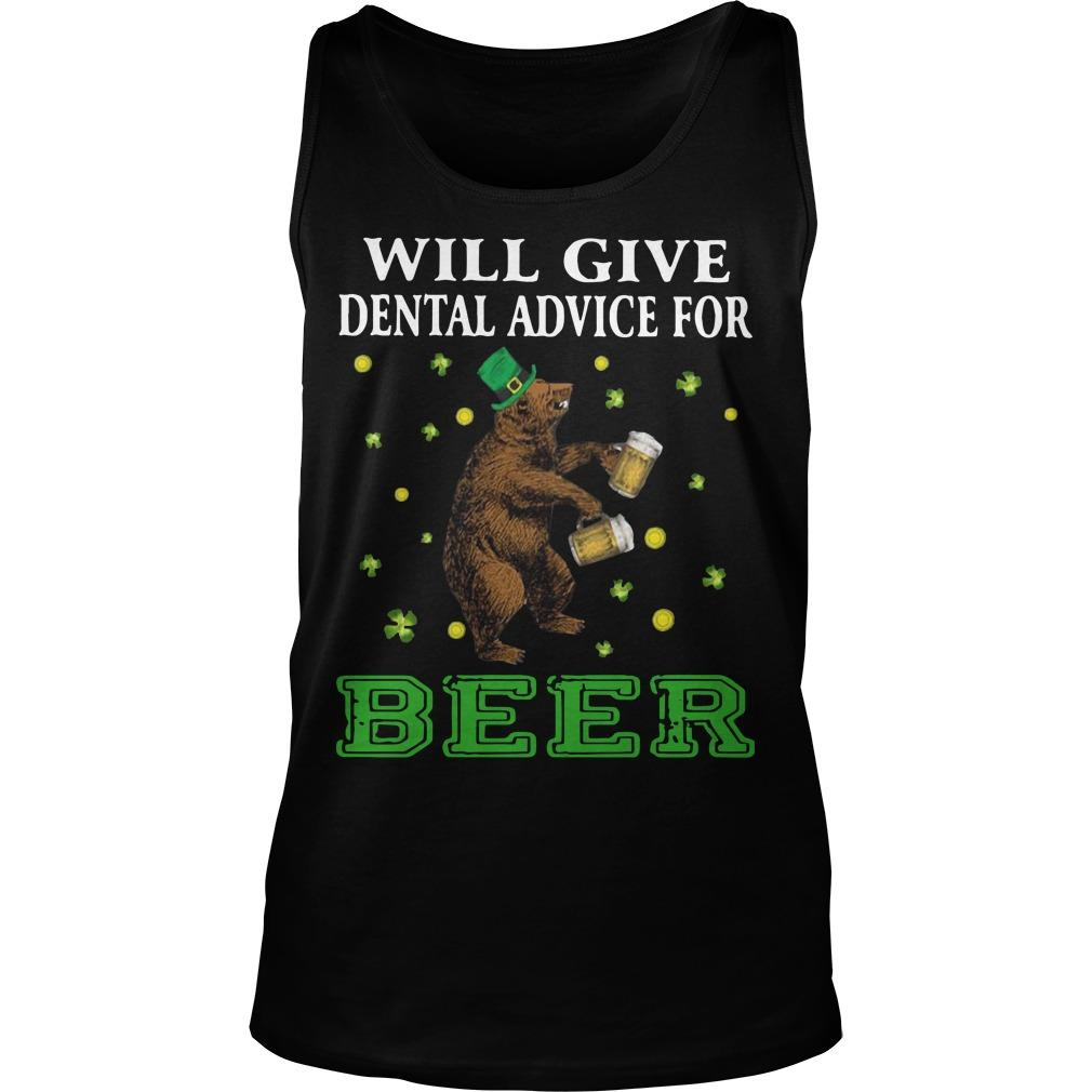 St Patrick's Bear Will Give Dental Advice For Beer Tank Top