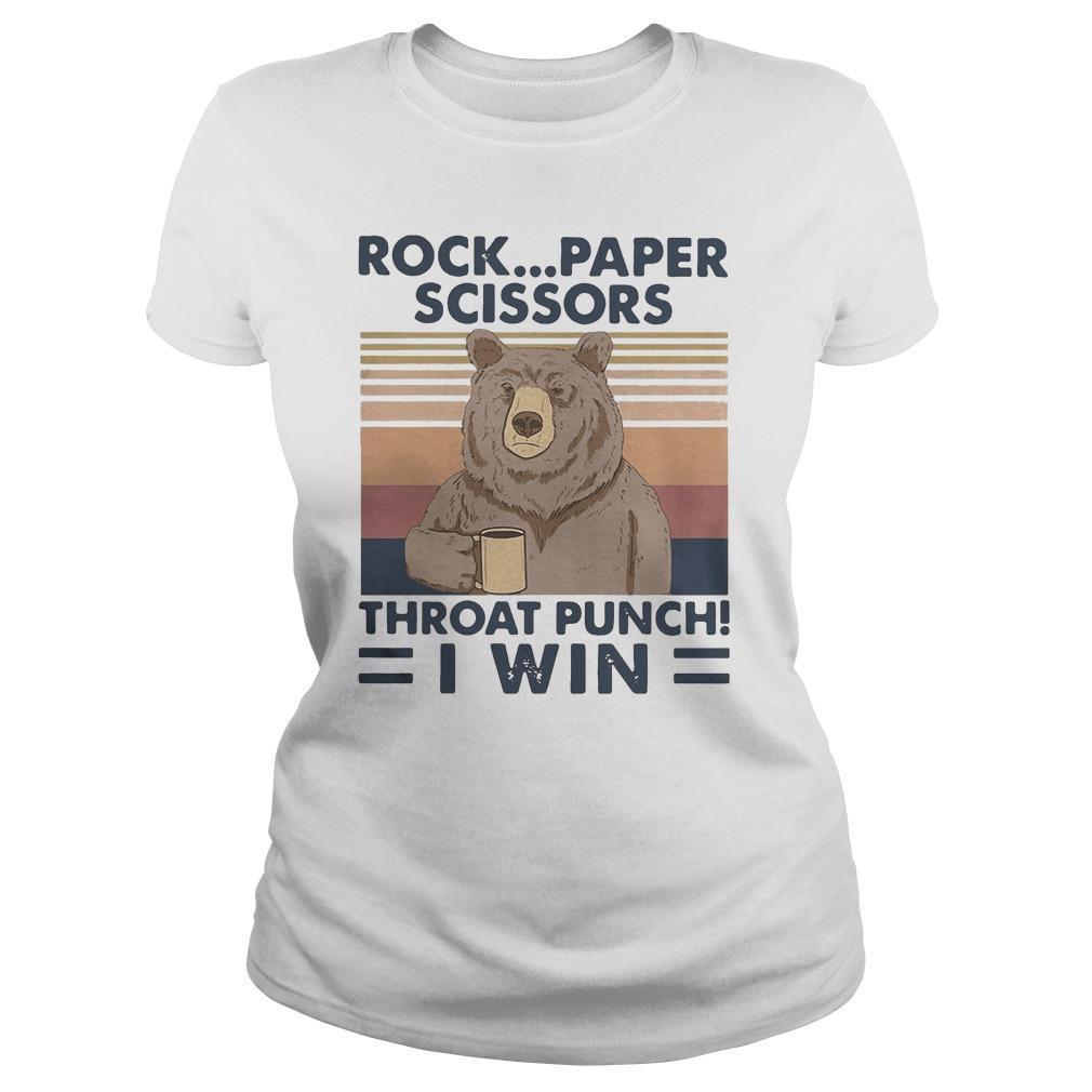 Vintage Bear Rock Paper Scissors Throat Punch I Win Tank Top