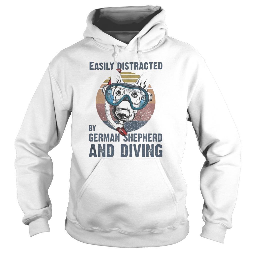 Vintage Easily Distracted By German Shepherd And Diving Hoodie