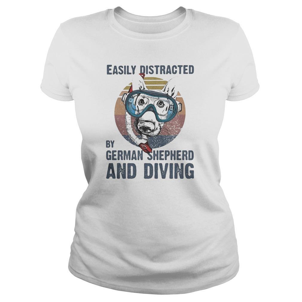 Vintage Easily Distracted By German Shepherd And Diving Longsleeve
