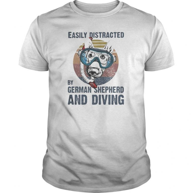 Vintage Easily Distracted By German Shepherd And Diving Shirt