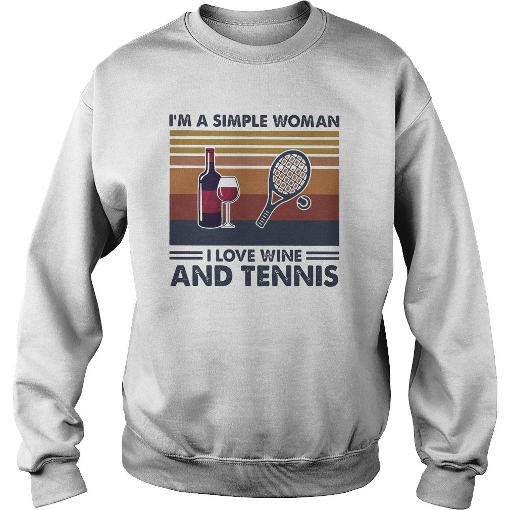 Vintage I'm A Simple Woman I Love Wine And Tennis Sweater