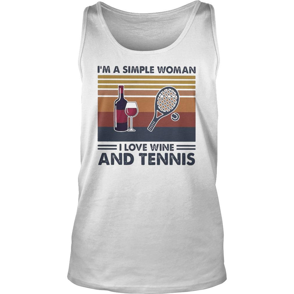 Vintage I'm A Simple Woman I Love Wine And Tennis Tank Top