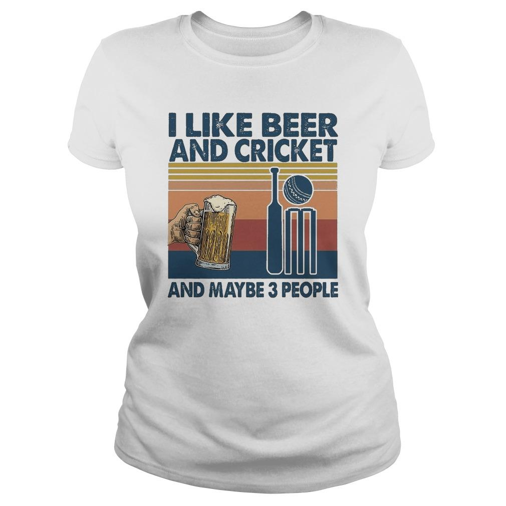 Vintage I Like Beer And Cricket And Maybe 3 People Longsleeve