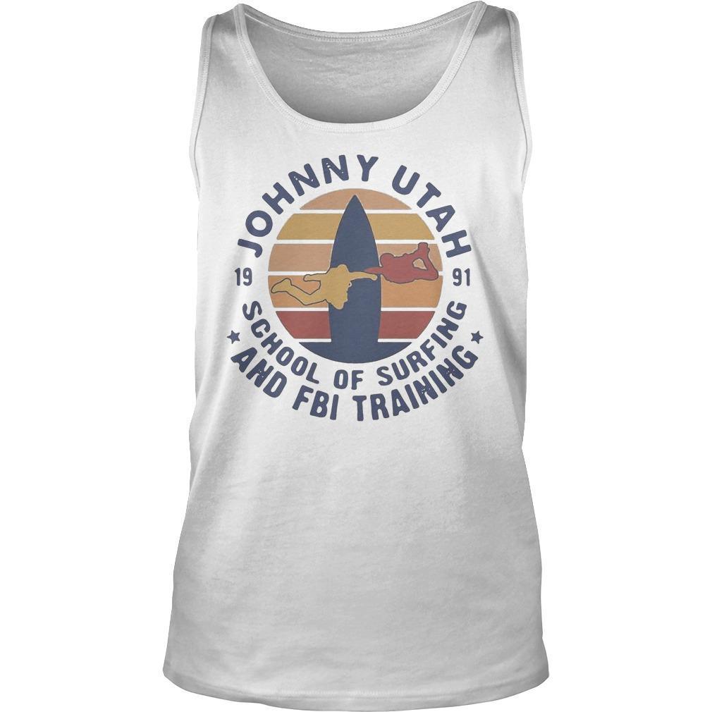 Vintage Johnny Utah 1991 School Of Surfing And Fbi Training Tank Top